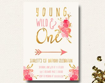 Wild One Birthday Party Invitations Theme Floral Bright Pink Invites Tribal