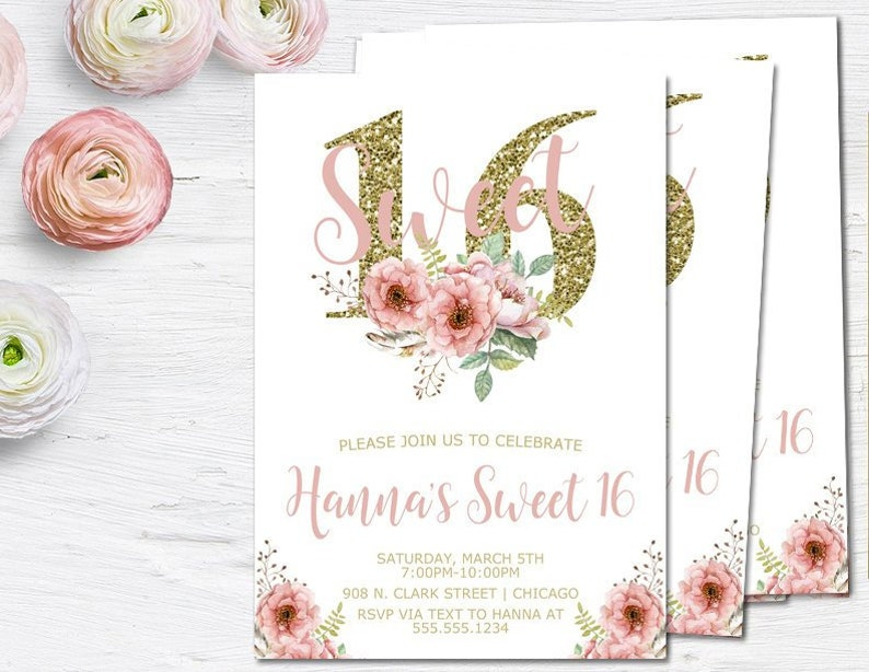 Sweet 16 Invitations 16th Birthday Party Invites Floral