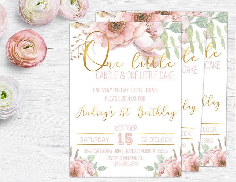 Birthday Invitations For Baby Girl 1st One Little