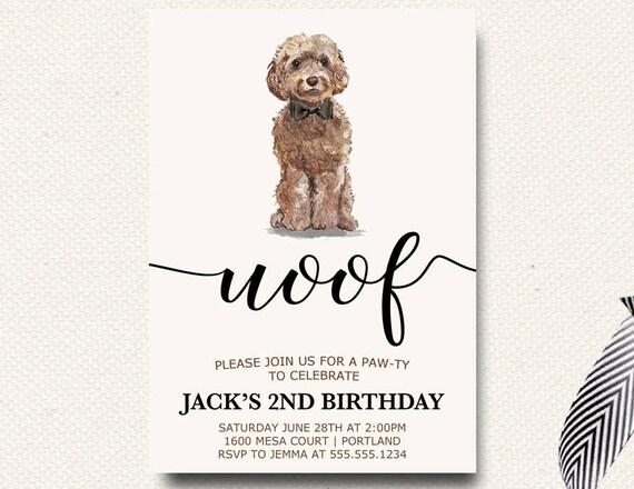 Boy invitations dog birthday invites boys birthday paw ty etsy image 0 filmwisefo