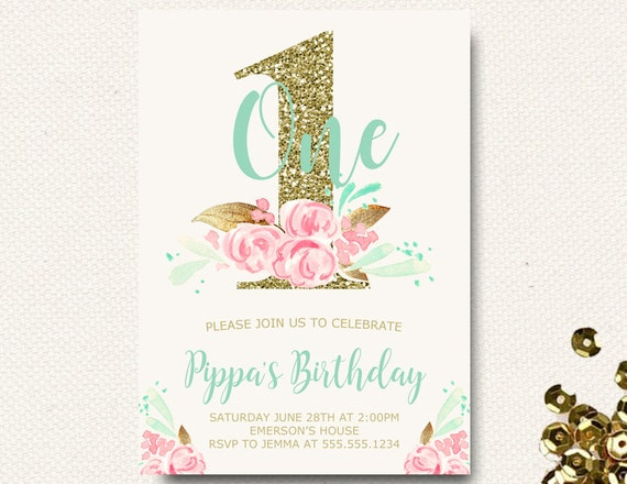 Floral Birthday First Invitations Mint And Pink