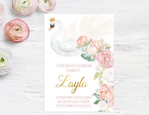 Swan party birthday invitations girls birthday invites baby etsy filmwisefo