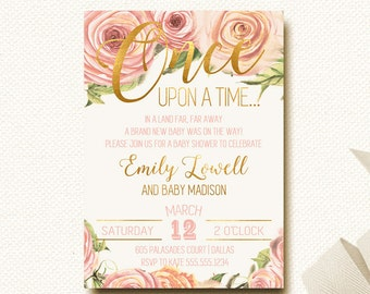Woodland Baby Shower Invitation Once Upon a Time Fairytale Invitation Floral Shower Invitation Roses DIY Printable Boho Chic