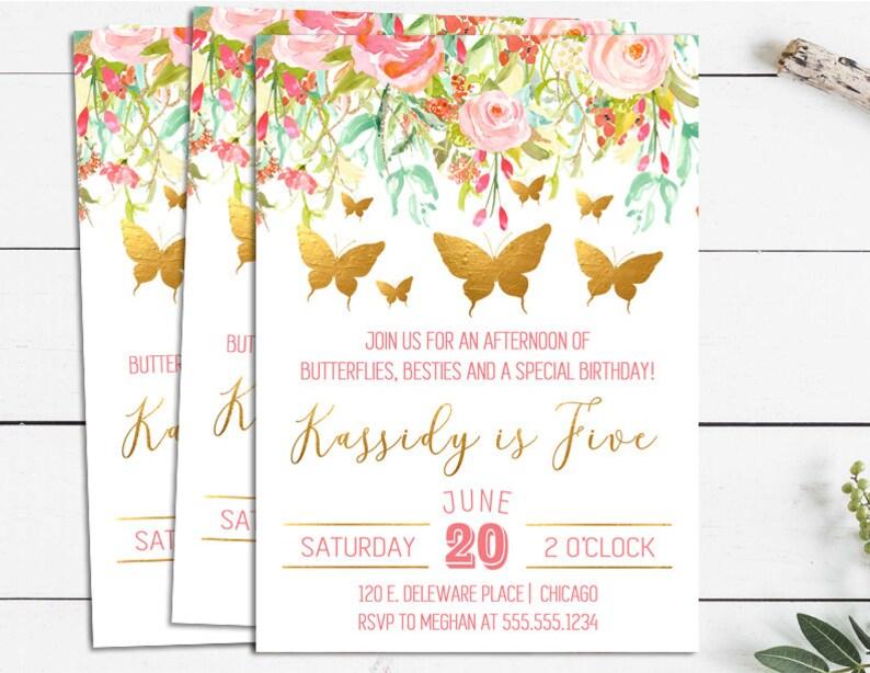 Butterfly Birthday Invitations Garden Party Invites Girls