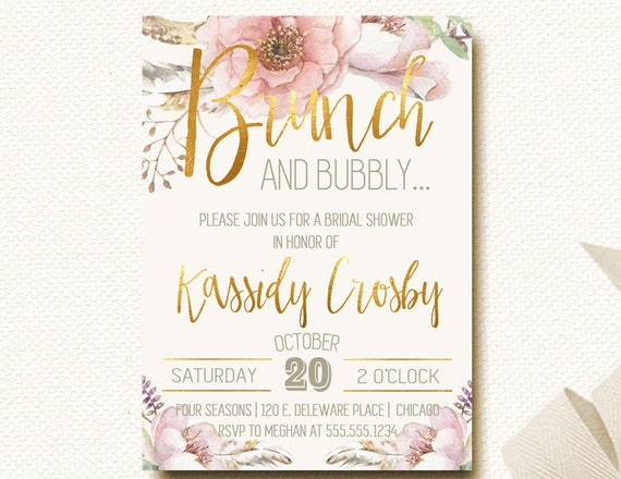 Bridal shower invitations brunch and bubbly invites wedding etsy image 0 filmwisefo