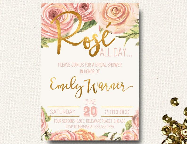843307519986 Rose All Day Rose Gold Invitation Gold Foil Invitation
