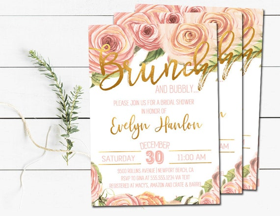 Brunch /& Bubbly Invitation LAUREN Collection Navy Floral Brunch and Bubbly Bridal Shower Invitation Glitter Brunch and Bubbly