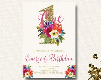 Girls First Birthday Invitation Tropical Floral Birthday Watercolor Gold Glitter