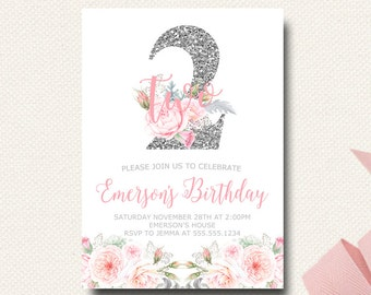 Second Birthday Invitation | Silver Floral | Gray and Pink | Girls Invitations | Printable Invite