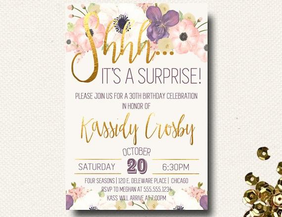 surprise birthday party invitations ladies womens milestone etsy