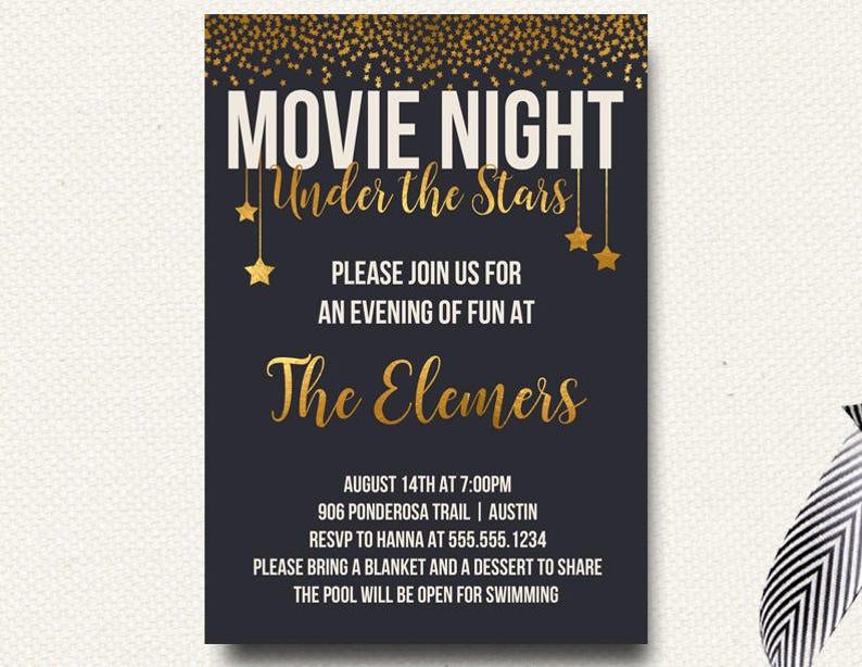 Movie Under The Stars Invitation Movie Night Outdoor Movie Etsy