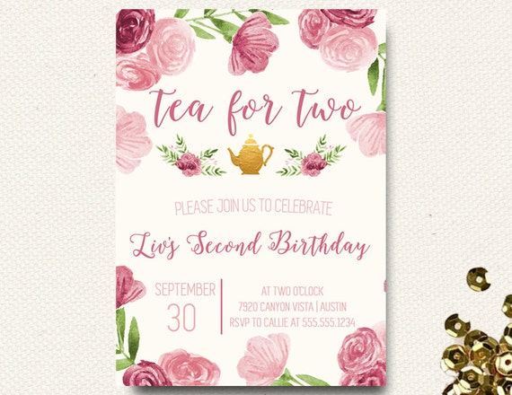 Tea for two 2 invitations tea party invites teapot 2nd etsy image 0 filmwisefo