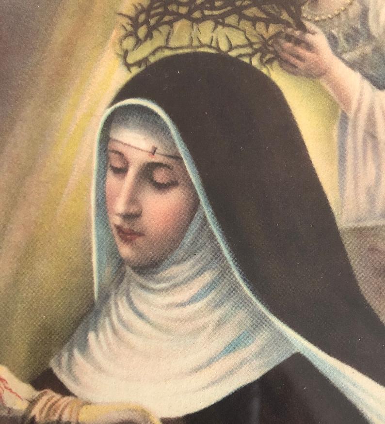 Pretty Antique Early 1900\u2019s Litho Print Saint Nun Thorn Crown Blood Tears Angel Framed Glass