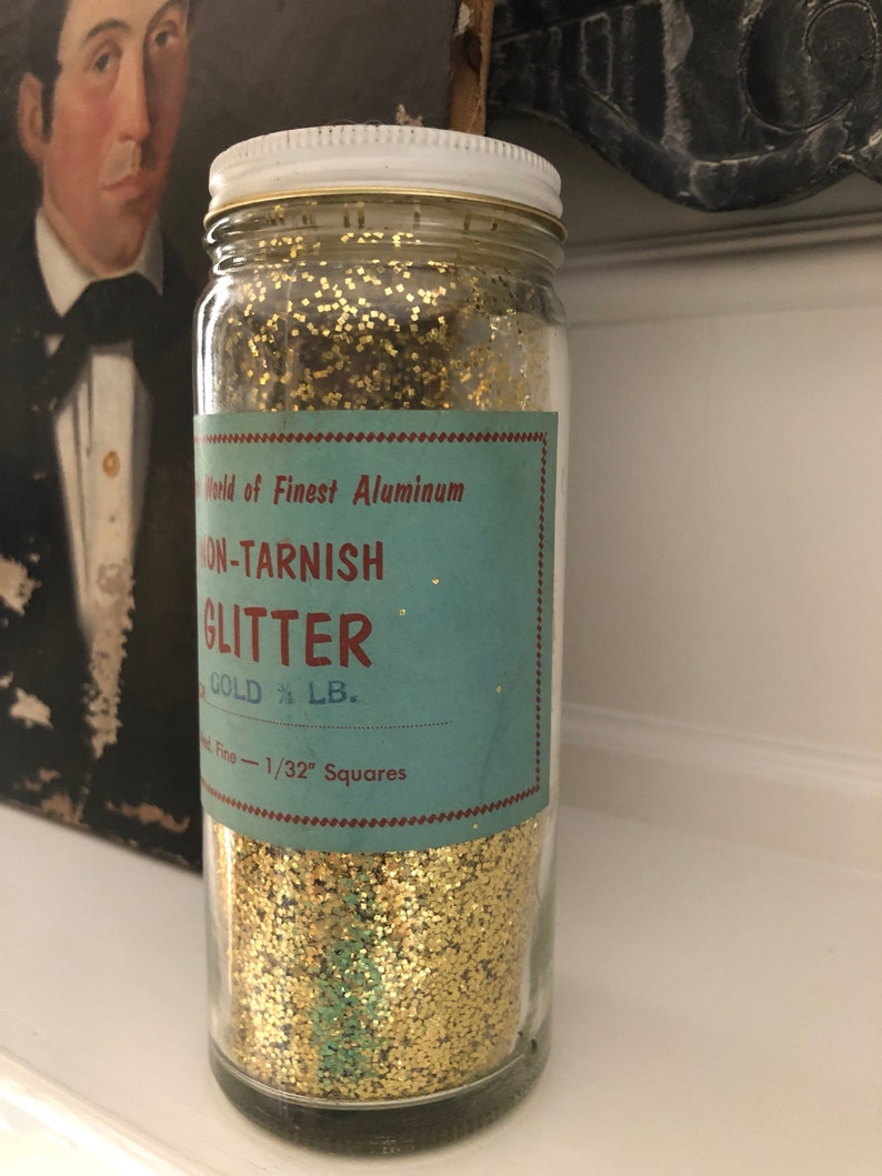 Huge Vintage 50/'s 40/'s Non Tarnish Glass Jar Gild Glitter Med Fine
