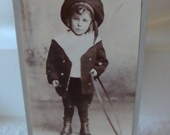 Antique Photo Vintage Cabinet  Photo  Victorian Little  Lad Sailor Hoop