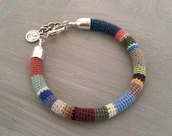 Multicolored Mens Bangle, Crochet Tube Men's Bangle, Striped Bracelet Men