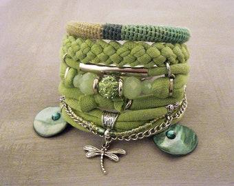 Lime Green Boho Gypsy Bracelet Bohemian Jewelry Hippie Style Multi Layer Bracelet Dragonfly Charm Boutique Bracelets Collection