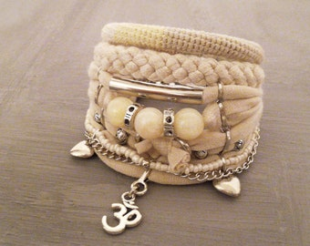 Champagne Bohemian Bracelet Ohm Symbol Bracelet Yellow Jadeite Bracelet Boho Bracelet Set Gypsy Bracelet Bohemian Wedding Jewelry Boho Style
