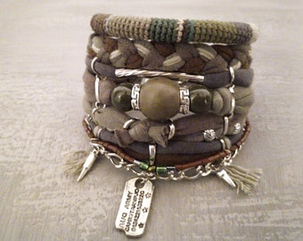 Camouflage Bracelet, Army Style Bracelet, Camo Bracelet, Army Bracelet Set, Military Bracelet, Bohemian Bracelet Camouflage Jewelry