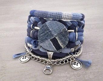 Denim Bracelet, Patchwork Bracelet, Blue Bohemian Gypsy Bracelet Multi Layer, Grunge Bracelet Button Charm, Indigo Bracelet Boho Jewelry