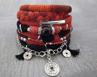 Red Black Boho Bracelet Set, Chinese Coin Lucky Charm Bracelet Gypsy Jewelry, Bohemian Bracelet, Hippie Bracelet