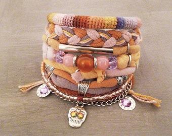 Peach Pink Bohemian Bracelet Boho Bracelet Set Pastel Layering Bracelets Gypsy Bracelet Hippie Jewelry Skull Charm Bracelet
