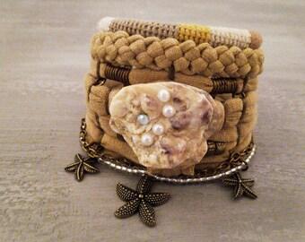 Bohemian Bracelet Camel Color Bracelet Gypsy Bracelet Gypsy Jewelry Multiple Strands Bracelet Hippie Style Boho Bracelet Stack Fossil Shell