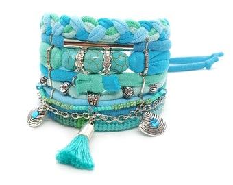 Best Seller Bracelet Turquoise Boho Bracelet Gypsy Bracelet Seafoam Bohemian Tassel Bracelet Boho Bracelet Set Beach Style Turquoise Jewelry