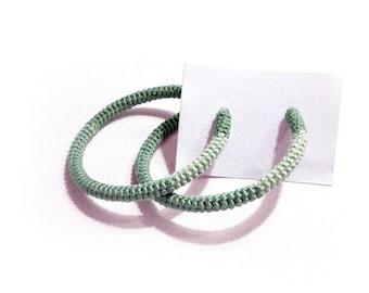 Mint Green Crochet Tube Hoop Earrings