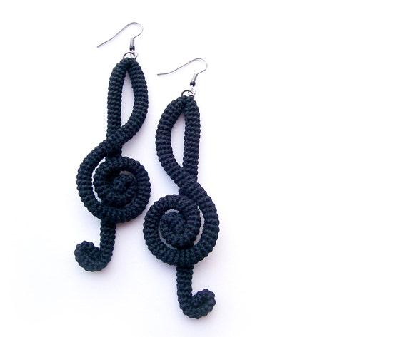 Handmade Black Treble Clef Earrings