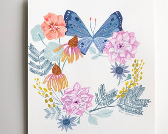 Butterfly Wreath (original painting)