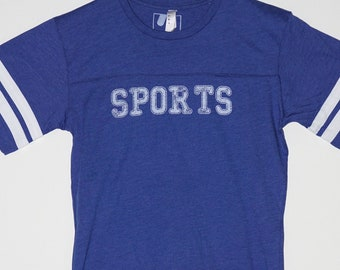 SPORTS! Nondenominational Sport Unisex Jersey in Royal Blue Poly Blend T-Shirt