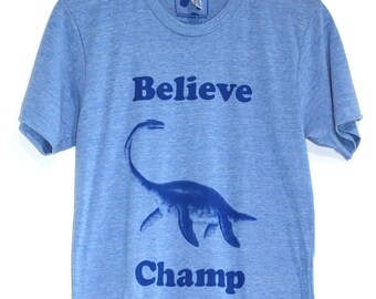 Believe Champ T-shirt, Men's / Unisex American Apparel Heather Blue Tri-Blend Graphic Tee