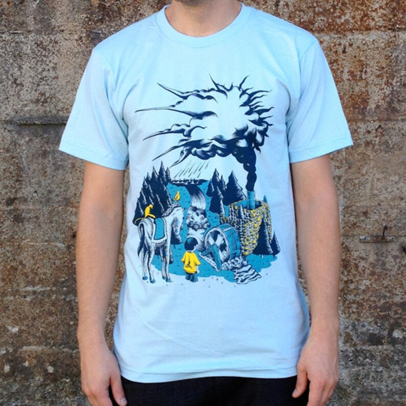 Water Cycle T-shirt Men's American Apparel Blue Tee image 0
