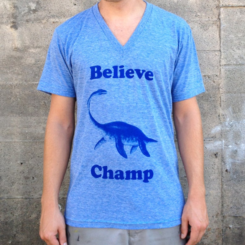 Believe Champ V-Neck Men's American Apparel Heather Blue image 0