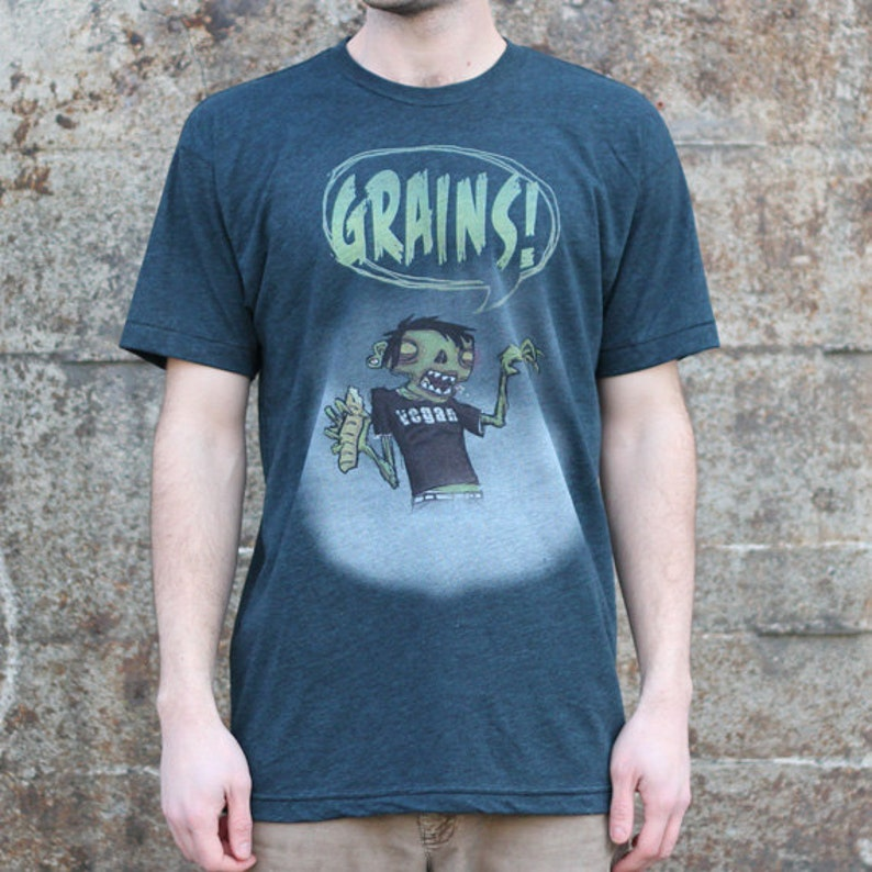 Vegan Zombie Grains T-shirt Men's / Unisex American image 0