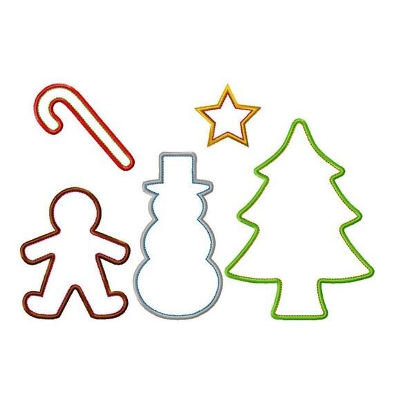 Gama de Cookie Cutter Navidad apliques diseños del bordado de   Etsy