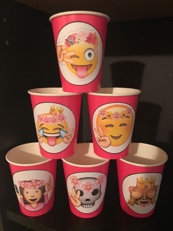 12 Apple IPhone Emojis Smiley Faces Birthday Party Paper Cups