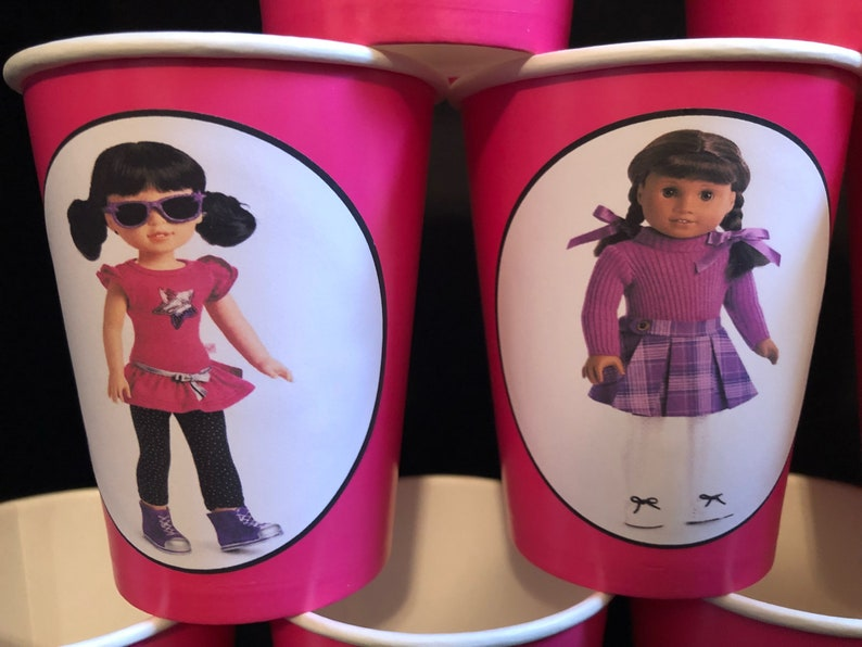American Girl Doll Birthday Party PACK for 12 Paper Cups 9 ounces /& Plates WITH IMAGES