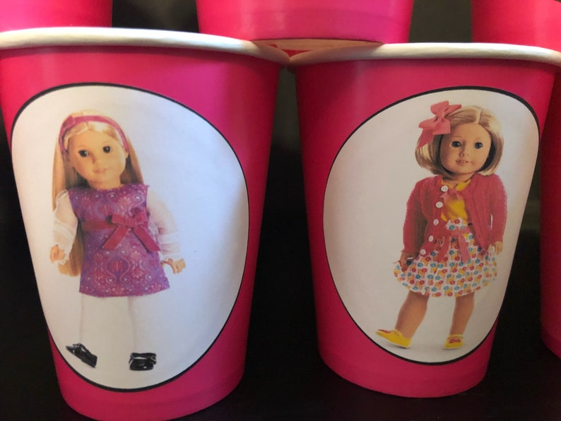 American Girl Doll Birthday Party PACK Paper Cups /& Plain Plates for 25