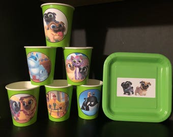 PARTY PACK FOR 12 Puppy Pals Birthday 12 Paper Cups 9OZ & 12 Plates
