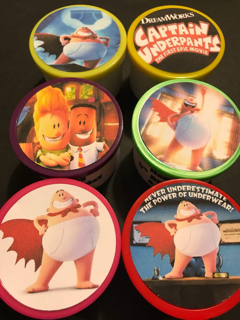 24 Captain Underpants Epic Movie Book Birthday Party Favor Etsy