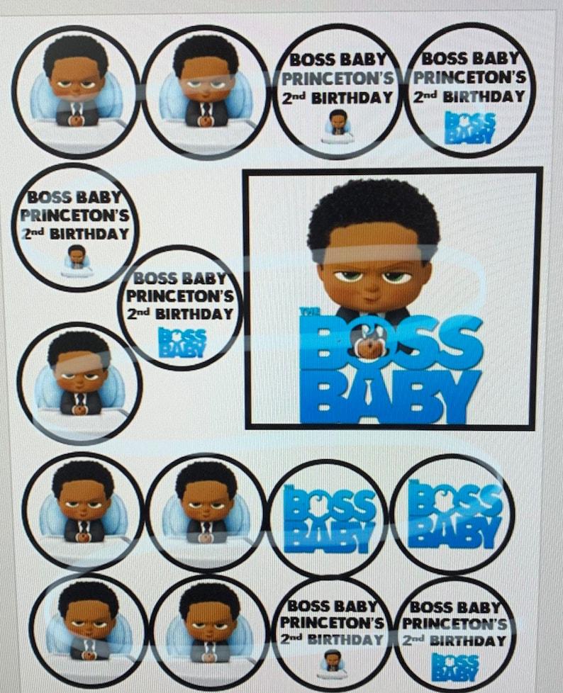 Boss Baby African American Black Baby Pdf Digital Printout Print Cupcake Cake Toppers Sticks Picks Blue