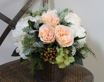 Artificial Flower Arrangement in a Metal Vase,Floral,Bridal,Centerpiece,Home Decor,Peony,Dusty Miller,Rose,Succulent,Hydrangea,Silk,Elegant