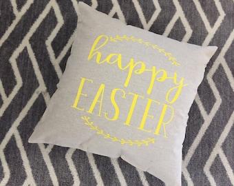 Happy Easter Burlap Envelope Pillow Cover/ Pillow Cover/ Burlap Pillow Cover/Easter Decor