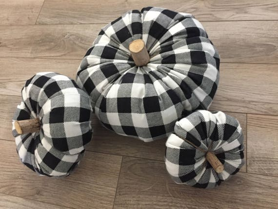 Buffalo Check Pumpkins Black And White Buffalo Plaid Stuffed Etsy