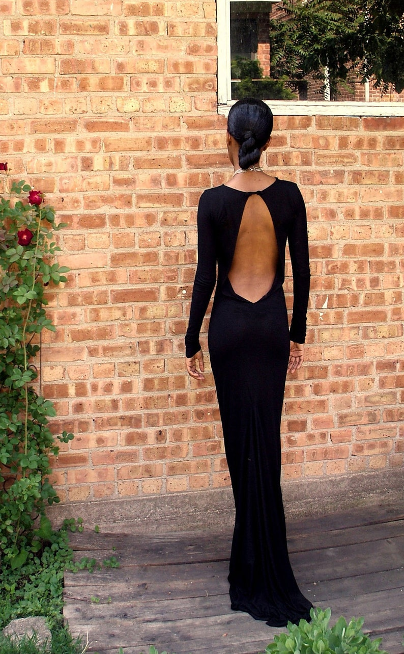 Black Backless Full Length Gown image 0