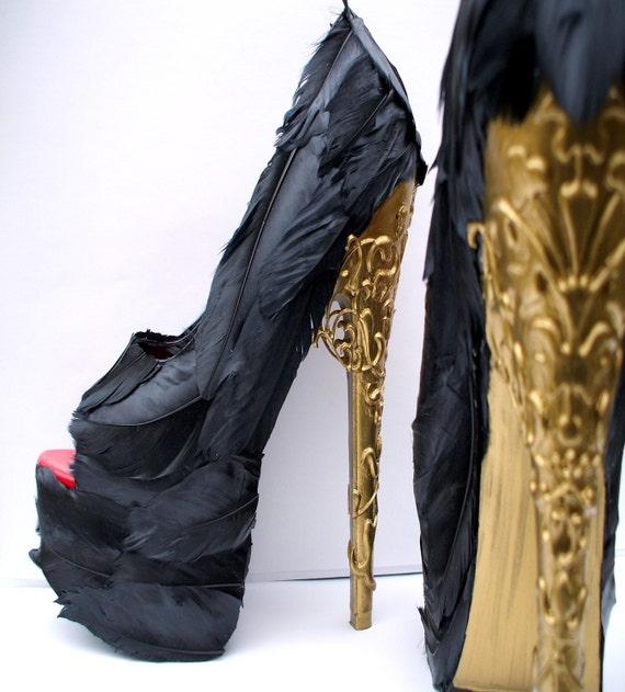 Feather Black Pumps w Gold Brocade Heel Any Size Alexander McQueen Tribute