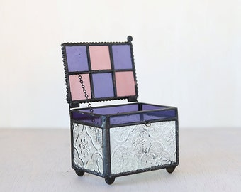 Vintage Rectangle Lace Detailed Stained Glass Treasure Jewelry Box - vintage chic decor