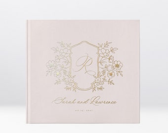 Wedding Guest Book, Real Gold Foil, Hardcover Landscape Guestbook, Photo Booth Ideas, Album Wedding, Floral Wreath Wedding Guest Book